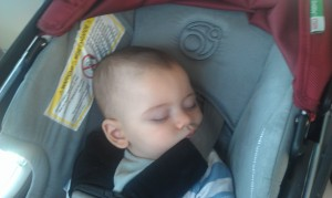 Jack asleep in his Orbit non-toxic car seat